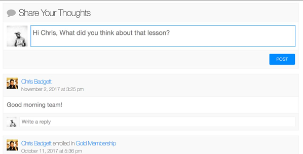 Users can communicate with their peers and instructors on timelines via the LifterLMS Social Learning add-on