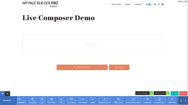 The Live composer modules fixed at the bottom of an editing screen