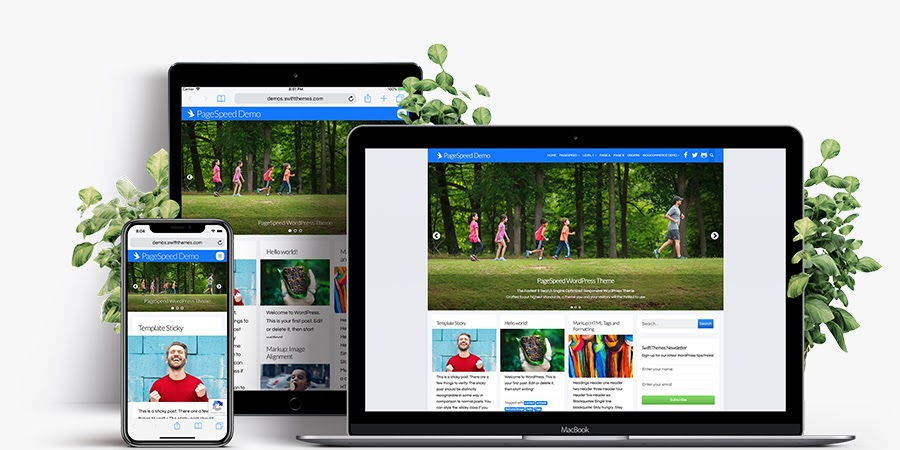 WordPress site built with PageSpeed theme on desktop, tablet, and mobile