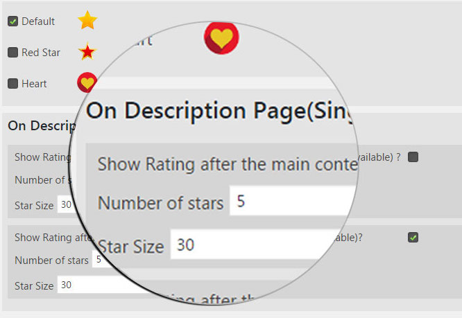 In the On Description Page section, you can modify the rating scale and choose where it appears on the page