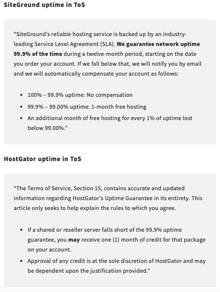 A look at the different wording of SiteGround's and HostGator's Terms of Service about uptime guarantee