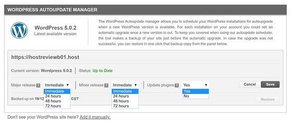 SiteGround's WordPress Autoupdate Manager being set to immediately schedule automatic updates of software and plugins
