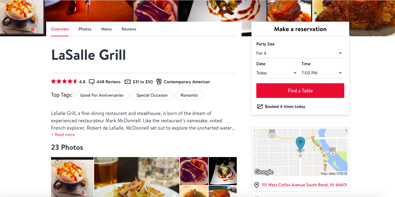 Screenshot of OpenTable using Maps JavaScript API