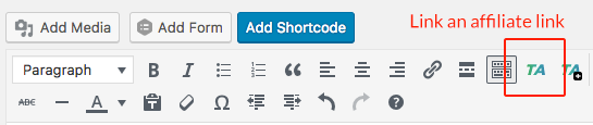 ThirstyAffiliate's Add Affiliate Link button highlighted in the Visual Editor toolbar
