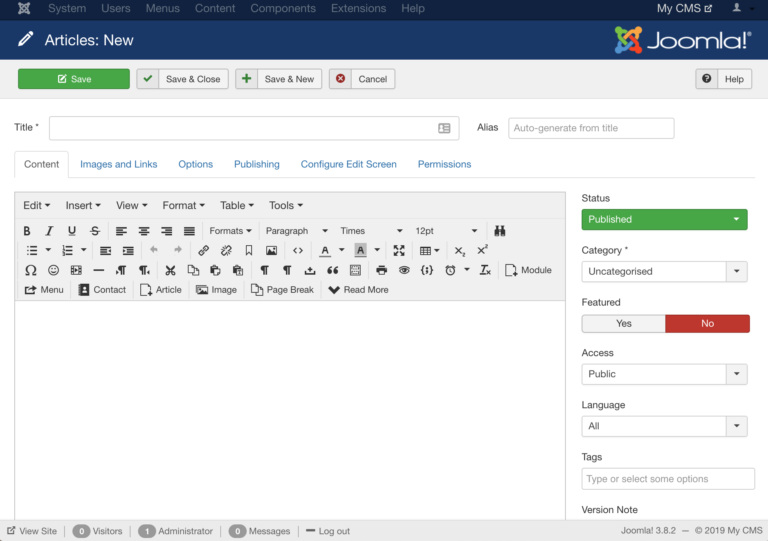 Joomla's content editor is more crowded with built-in features than WordPress's