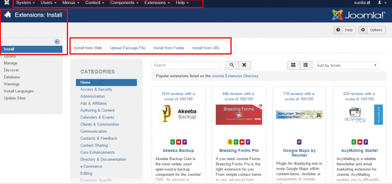 Joomla users have direct access to over 8,000 extensions in their dashboard