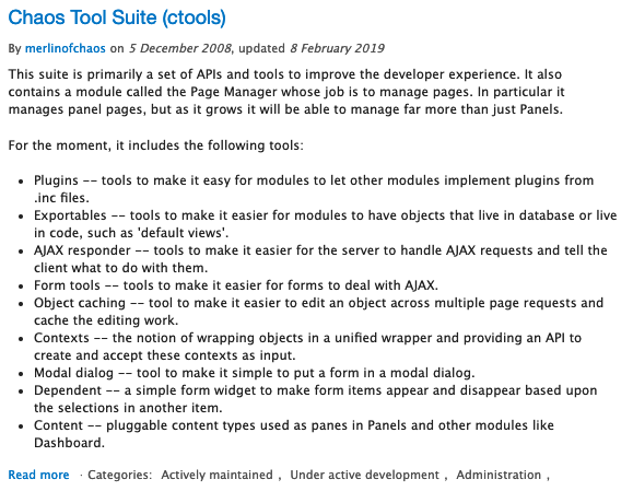 "Description of Drupal module called ""Chaos Tool Suite"""