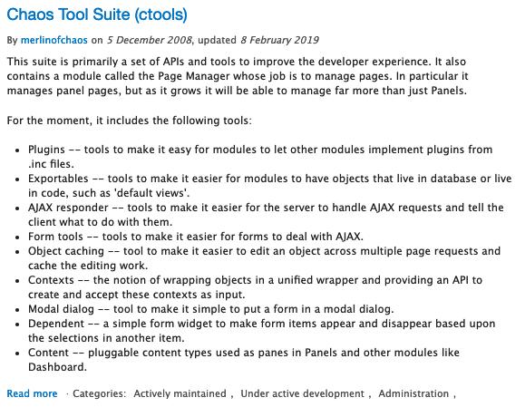 """Description of Drupal module called """"Chaos Tool Suite"""""""