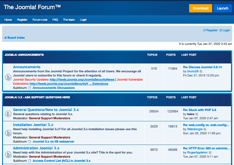 The top threads on Joomla's support forum cover thousands of topics