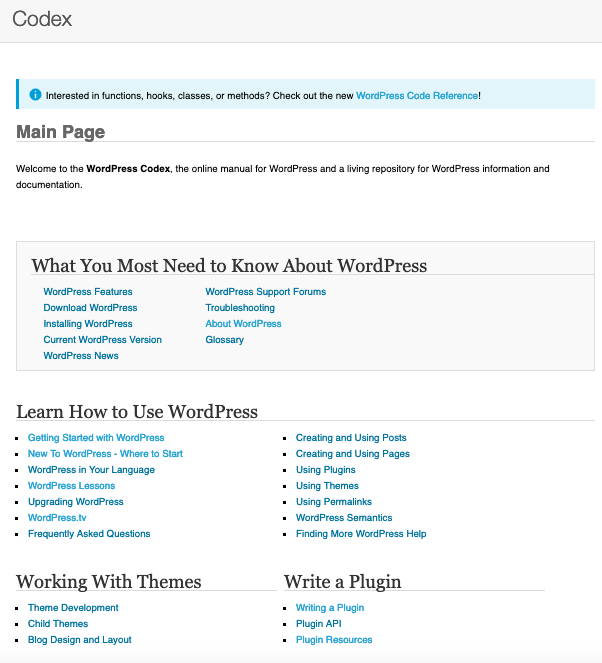 Homepage of WordPress Codex includes a section of resources labelled