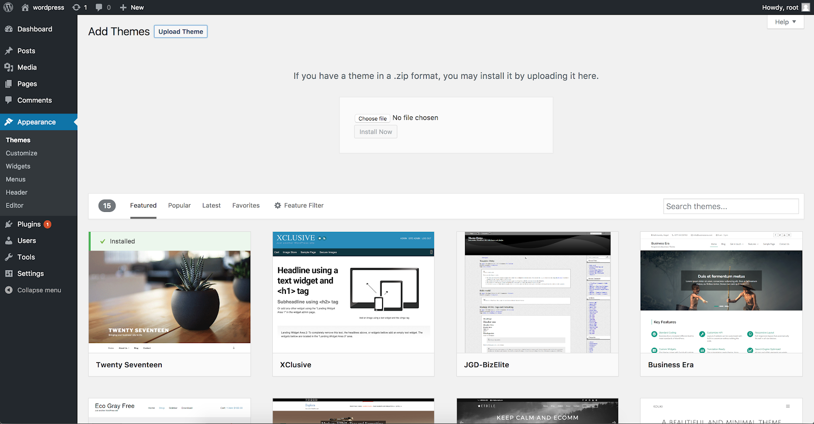 With WordPress, you can browse thousands of free themes directly in your dashboard