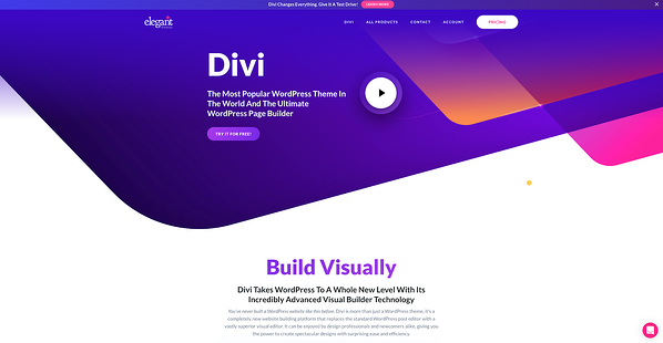 Divi drag and drop page builder
