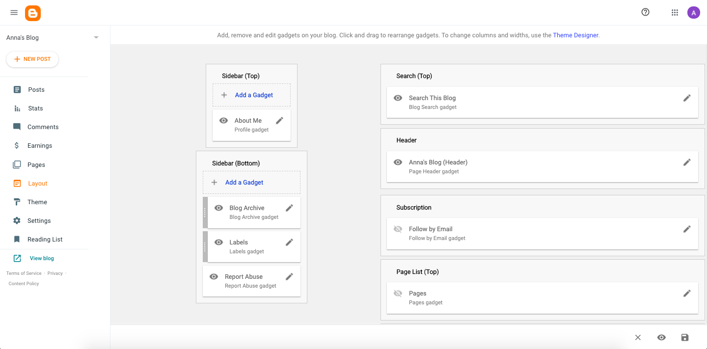 Drag and drop elements using Bloggers template editor in the back end