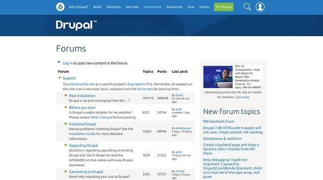 Drupals support form allows community members to engage with and support each other