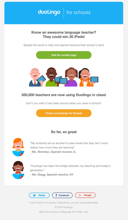 Duolingo lead nurturing example