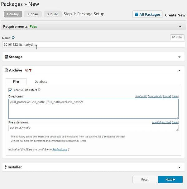 wordpress file archive selection demo page