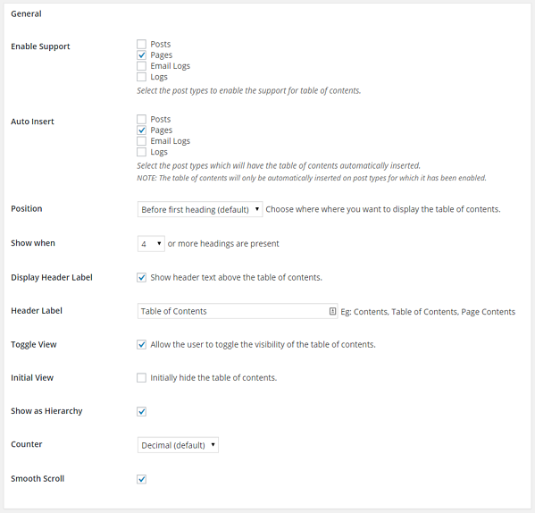 Easy table of contents plugin general settings apge