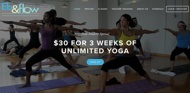 Eb & flow Yoga Studio follows the website design best practice of using whitespace to lead users to click on a CTA