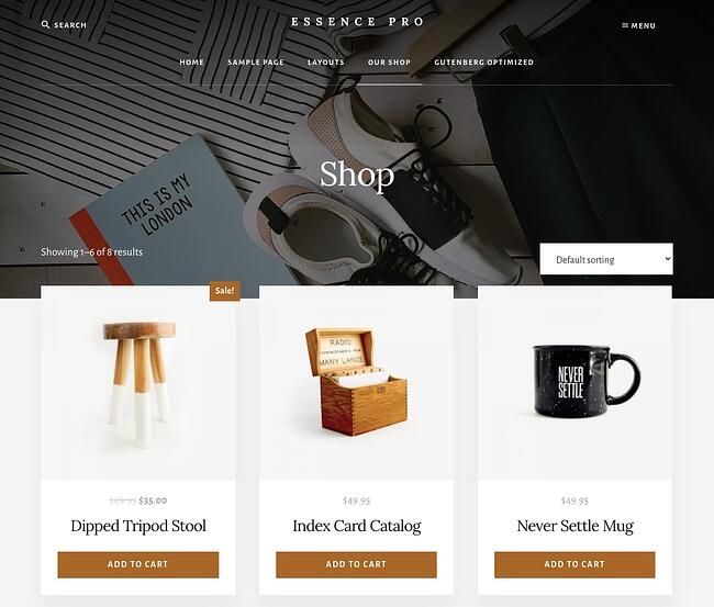 Ecommerce shop page of Essence Pro theme package