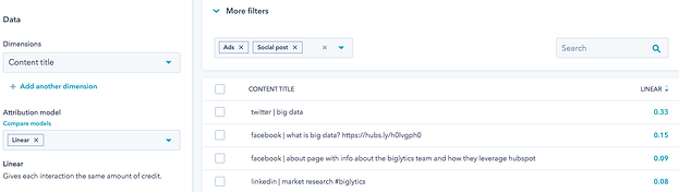 Screenshot of content type filter displaying contacts generated by social