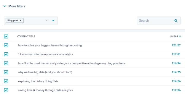 Screenshot of content type filter