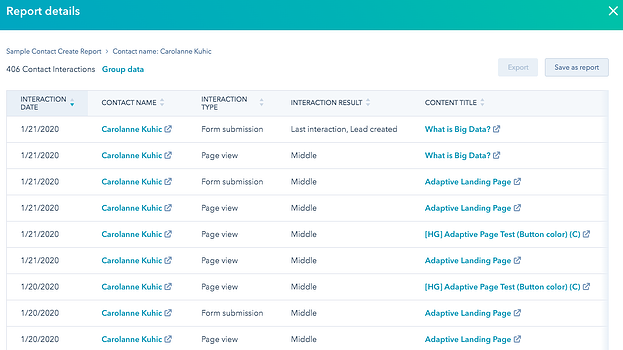 Screenshot of Contact view showing a detailed table of interactions (when, type, name, first/middle/last)