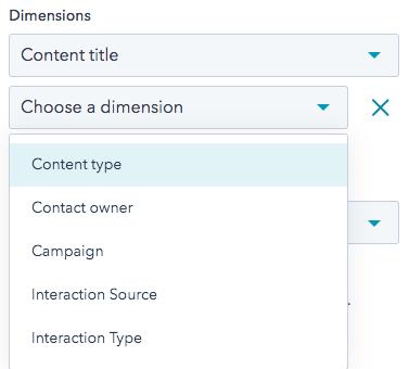Screenshot of drop down menu options for selecting a target dimension
