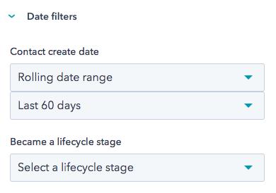 Screenshot displaying Date filter options