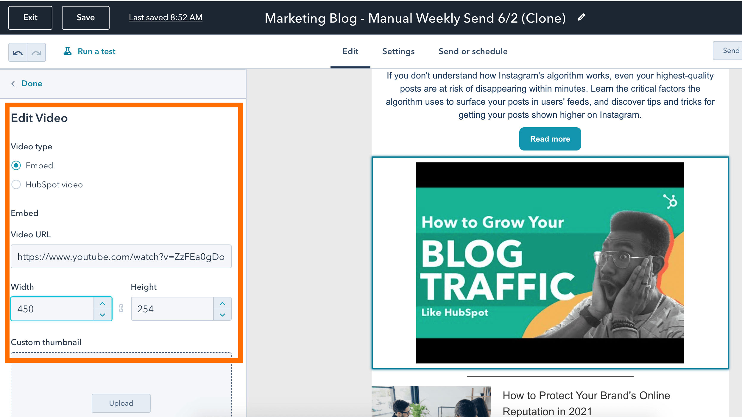 Edit a video to add to a HubSpot email copy
