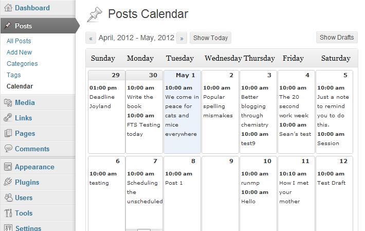 Editorial Calendar best WordPress plugins for writers