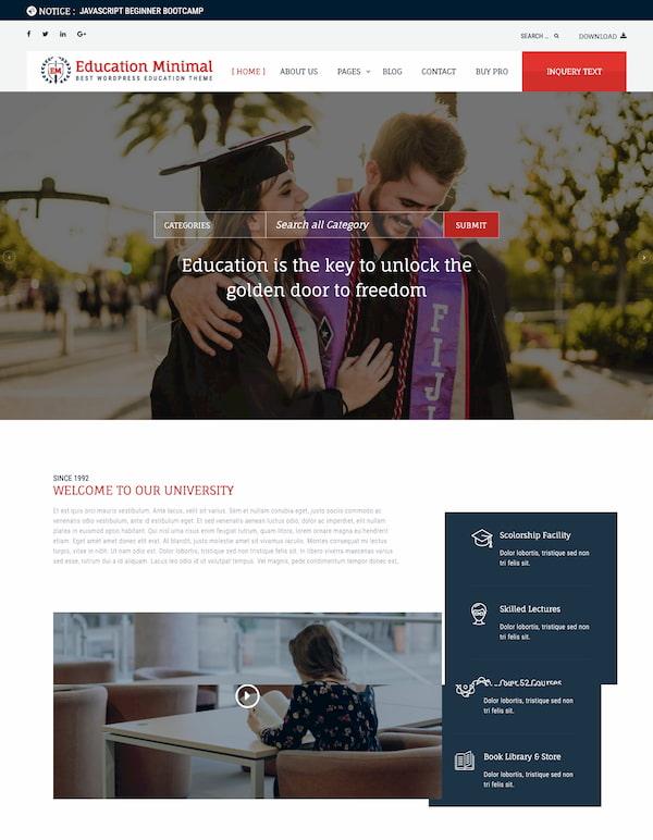 Education Minimal WordPress theme demo-1