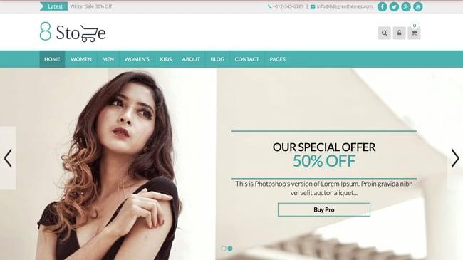 Eightstore Lite demo of WordPress ecommerce site