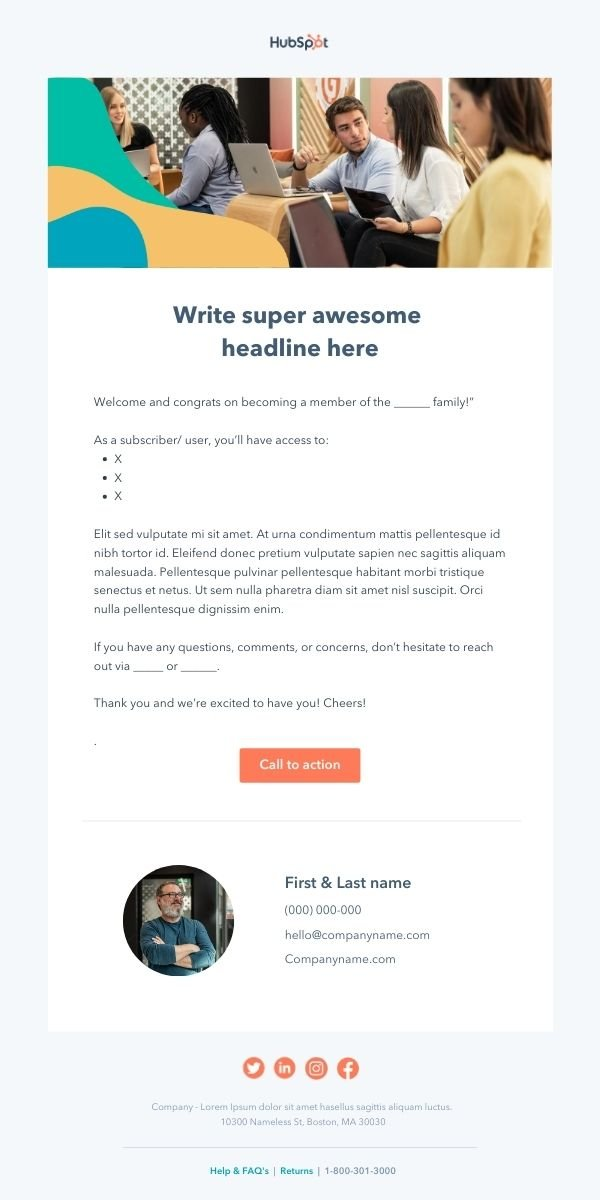 free welcome Email Template to send to customers