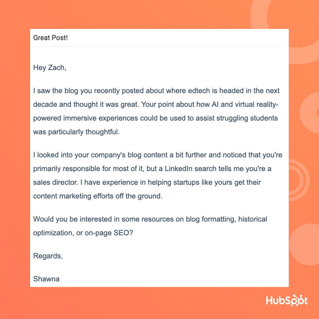 Sales email template for responding to content