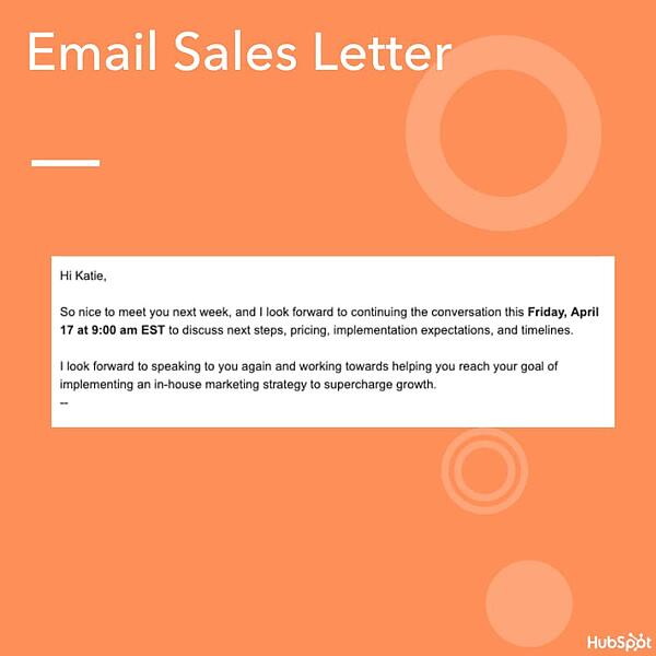 Sample Email Sales Letter from HubSpot's sales team
