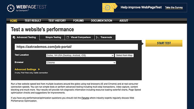 Enter website URL into WebPageTest tool to check WordPress themes loading speed