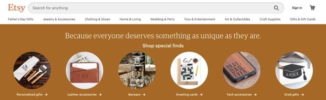 Etsy homepage on desktop