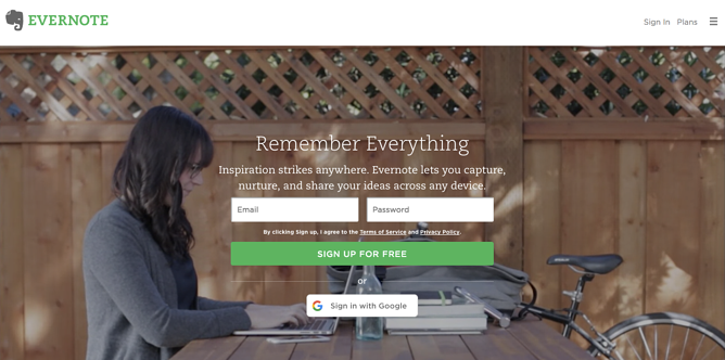 Evernote homepage web design