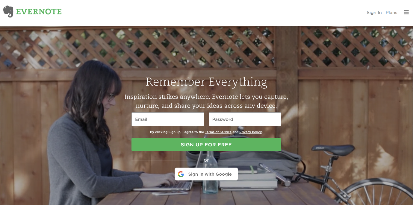 Evernote homepage web design