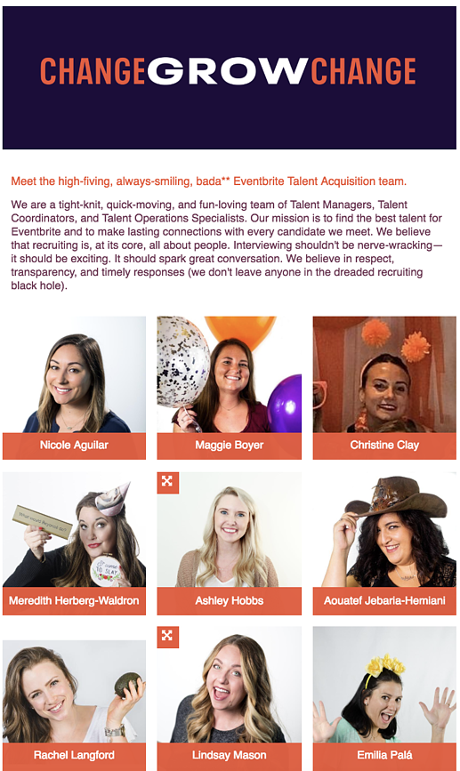 Image of Eventbrite's Careers page showcasing team