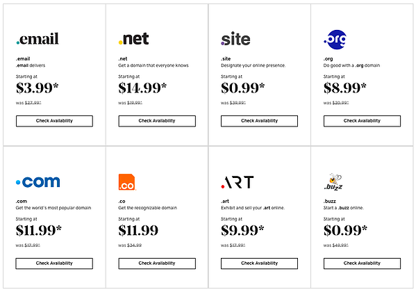 GoDaddy's pricing for different extensions for custom domain registration