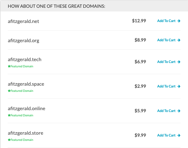 variations of custom domain name generated by domain.com