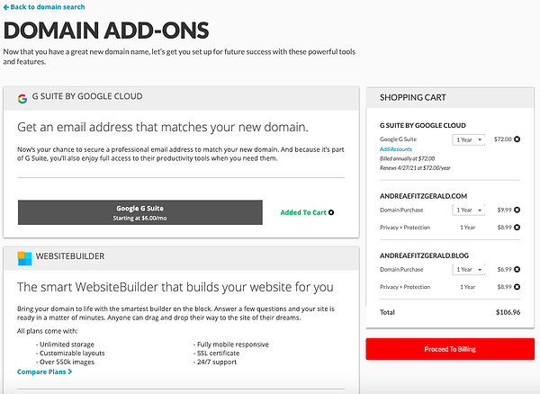 adding custom domain add-ons during checkout process on domain.com