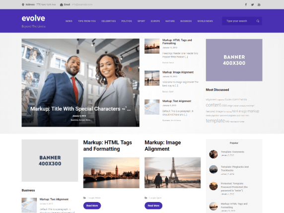 Evolve Bootstrap-based WordPress theme demo-1