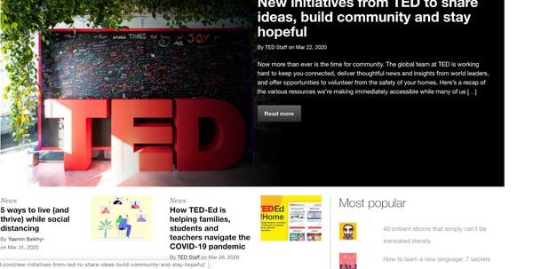 ted videos header wordpress