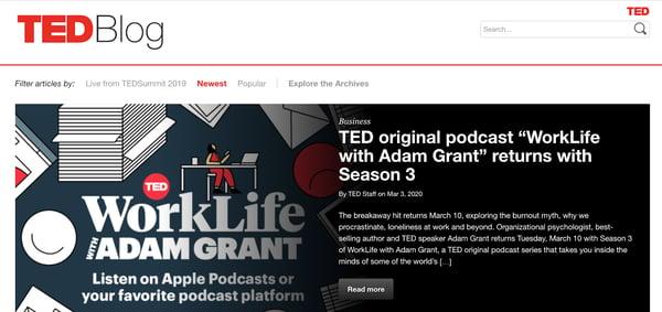 ted blog homepage
