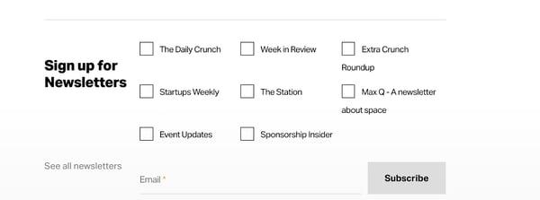 techcrunch newsletter signup form