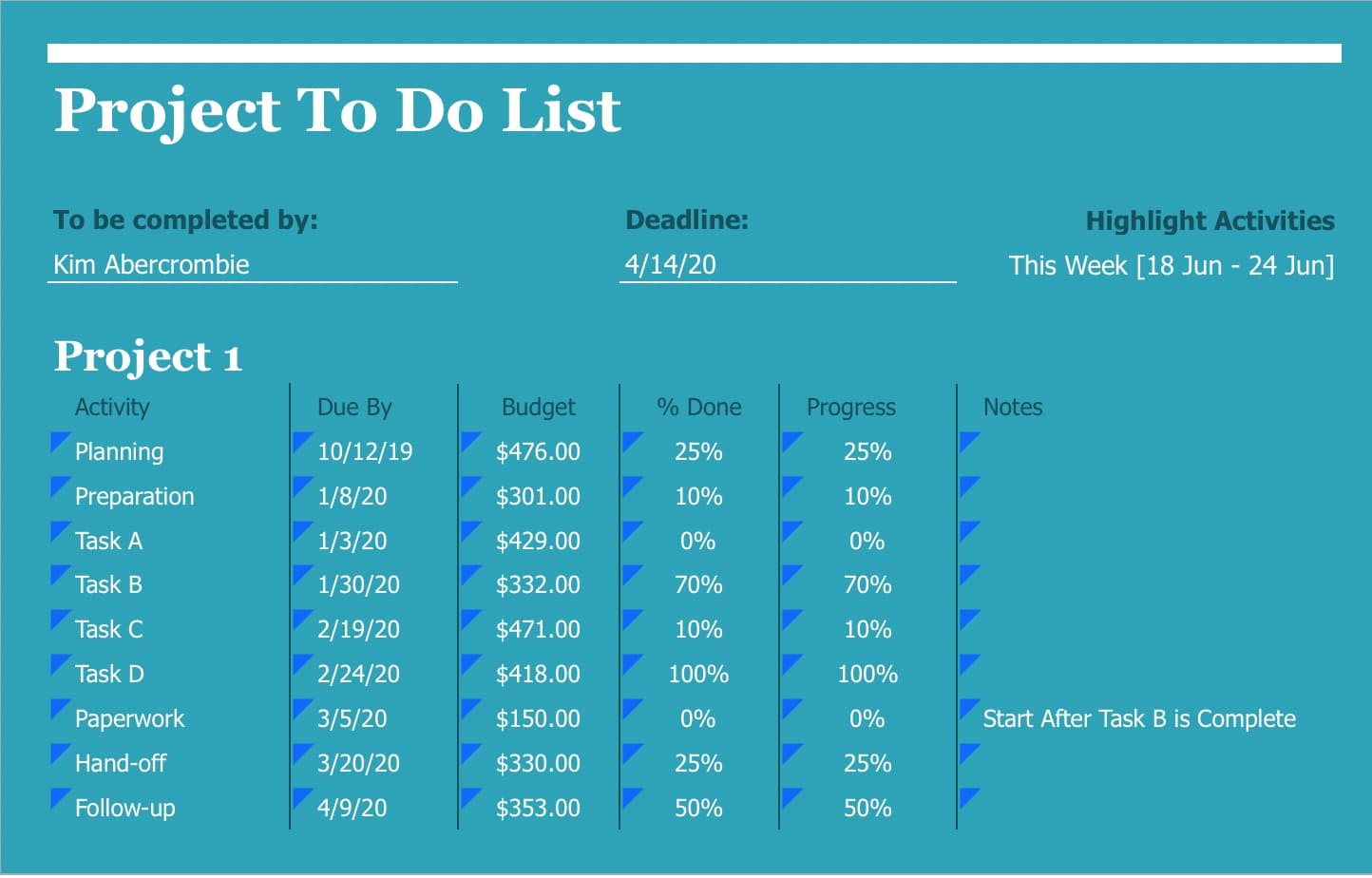 An awesome to do list you can create in Excel