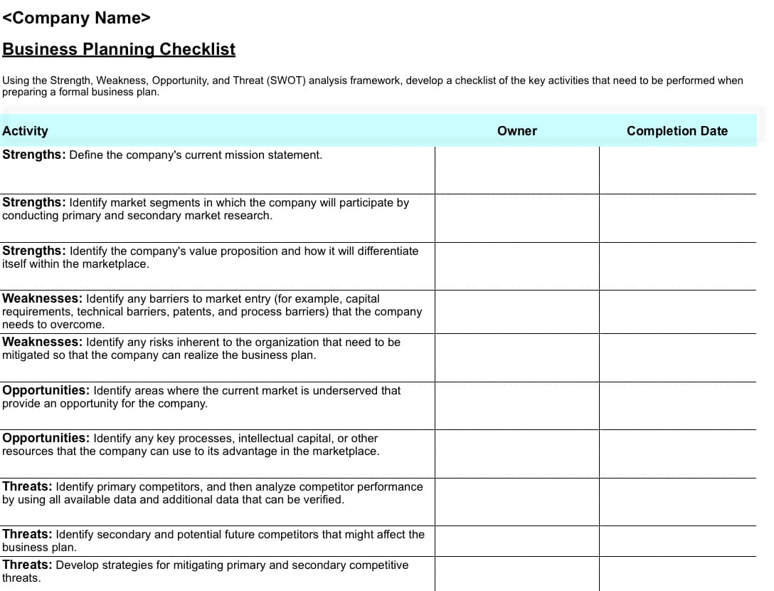 A business planning checklist you can create in Excel