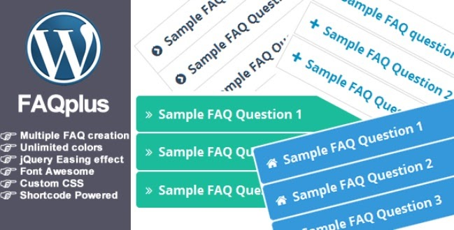 FAQ Plus plugin download page with benefits of the plugin and colorful mock ups of what the plugin looks like